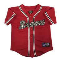 Atlanta Braves Majestic Child Alternate Replica Baseball Jersey (Scarlet)