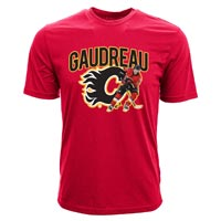 Calgary Flames Johnny Gaudreau NHL Action Pop Applique T-Shirt