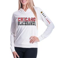Chicago Blackhawks Women's Triple Hit FX Long Sleeve Hoodie (Off White)