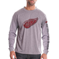 Detroit Red Wings Chrome FX Long Sleeve T-Shirt (Heather Pebble)