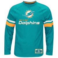 Miami Dolphins Power Hit Long Sleeve NFL T-Shirt With Felt Applique
