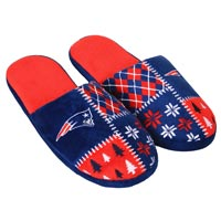 New England Patriots Men's Ugly Sweater Knit Slippers