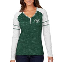 New York Jets Women's Lead Play Raglan Long Sleeve T-Shirt