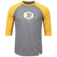 Oakland Athletics Cooperstown Two To One Margin 3/4 Raglan T-Shirt