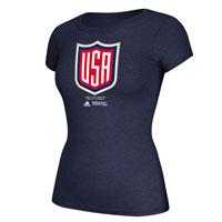 USA Hockey World Cup Of Hockey Women's Cap Sleeve Primary Logo Go To T-Shirt