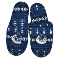 Vancouver Canucks Men's Aztec Knit Slippers