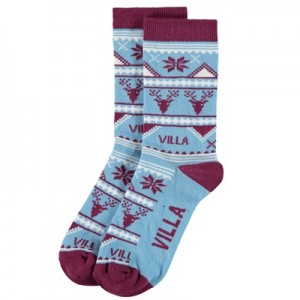 Aston Villa Christmas Socks – Sky Blue – Womens