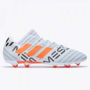 adidas Nemeziz Messi 17.3 Firm Ground Football Boots – White/Solar Orange/Clear Grey