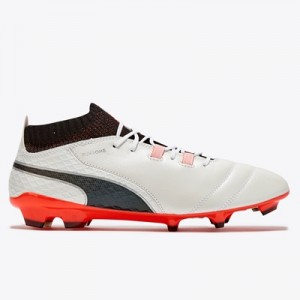 Puma One 17.1 Firm Ground Football Boots – White/Black/Fiery Coral