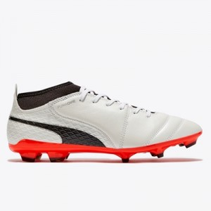 Puma One 17.2 Firm Ground Football Boots – White/Black/Fiery Coral