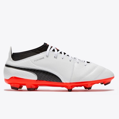 Puma One 17.3 Firm Ground Football Boots – White/Black/Fiery Coral