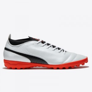 Puma One 17.4 Astroturf Trainers – White/Black/Fiery Coral