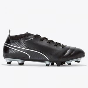 Puma One 17.4 Firm Ground Football Boots – Black/Black/Silver – Kids