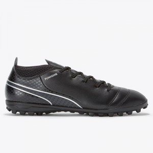 Puma One 17.4 Astroturf Trainers – Black/Black/Silver – Kids