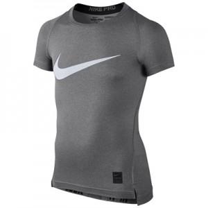 Nike Pro Combat Baselayer Top – Grey/White – Kids
