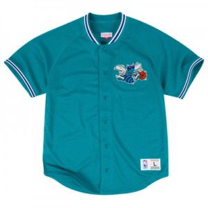 """Charlotte Hornets Hardwood Classics Seasoned Pro Mesh Button Front Top"""