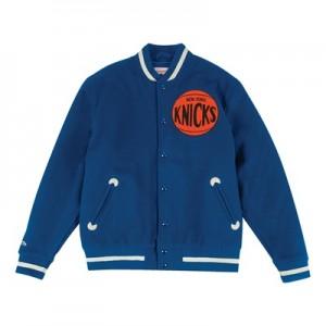 """New York Knicks Hardwood Classics In The Stands Varsity Jacket – Mens"""