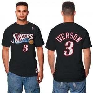 """Philadelphia 76ers Allen Iverson Hardwood Classics Distressed Name & N"""