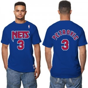 """New Jersey Nets Drazen Petrovic Hardwood Classics Distressed Name & Nu"""