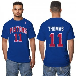 """Detroit Pistons Isiah Thomas Hardwood Classics Distressed Name & Numbe"""