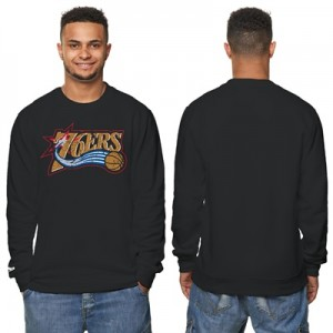 """Philadelphia 76ers Hardwood Classics Distressed Print Crew Neck Sweats"""
