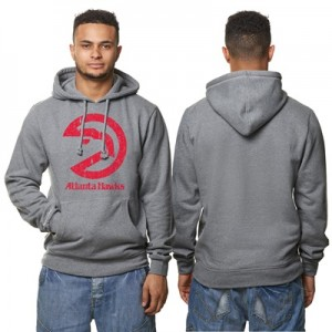"""Atlanta Hawks Hardwood Classics Distressed Print Hoodie – Grey Heather"""