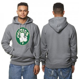 """Boston Celtics Hardwood Classics Distressed Print Hoodie – Grey Heathe"""