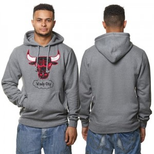 """Chicago Bulls Hardwood Classics Distressed Print Hoodie – Grey Heather"""
