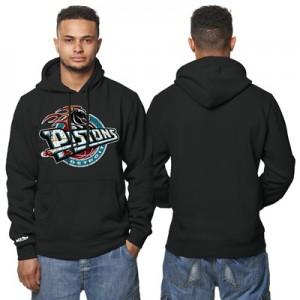 """Detroit Pistons Hardwood Classics Distressed Print Hoodie – Black – Me"""