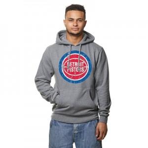 """Detroit Pistons Hardwood Classics Distressed Print Hoodie – Grey Heath"""