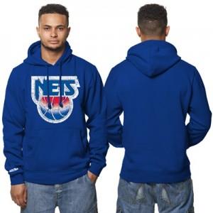 """New Jersey Nets Hardwood Classics Distressed Print Hoodie – Royal Blue"""