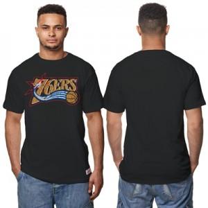 """Philadelphia 76ers Hardwood Classics Distressed Print T-Shirt – Black """
