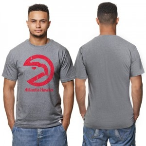 """Atlanta Hawks Hardwood Classics Distressed Print T-Shirt- Grey Heather"""