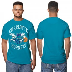 """Charlotte Hornets Hardwood Classics Distressed Print T-Shirt – Teal – """