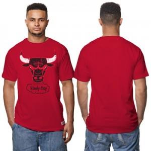 """Chicago Bulls Hardwood Classics Distressed Print T-Shirt – Scarlet Red"""