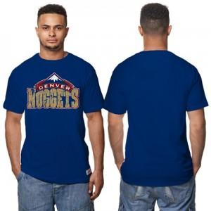 """Denver Nuggets Hardwood Classics Distressed Print T-Shirt – Navy – Men"""