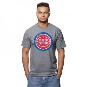 """Detroit Pistons Hardwood Classics Distressed Print T-Shirt – Grey Heat"""