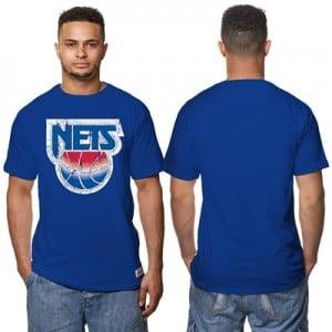 """New Jersey Nets Hardwood Classics Distressed Print T-Shirt – Royal Blu"""