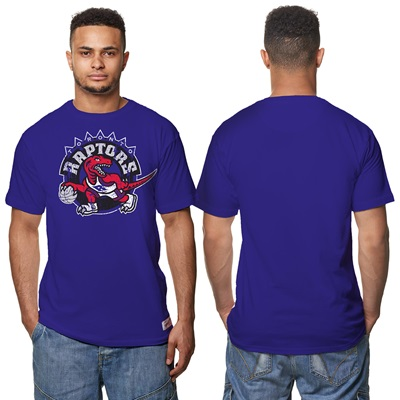 """Toronto Raptors Hardwood Classics Distressed Print T-Shirt – Purple – """