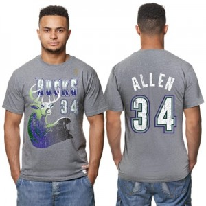 """Milwaukee Bucks Ray Allen Hardwood Classics Distressed Name & Number P"""