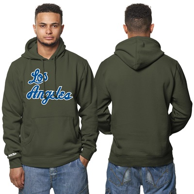 """Los Angeles Lakers Hardwood Classics – Fashion Wordmark Hoodie – Olive"""
