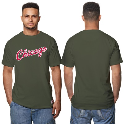 """Chicago Bulls Hardward Classics – Fashion Wordmark T-Shirt – Olive – M"""