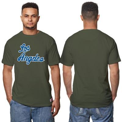 """Los Angeles Lakers Hardwood Classics – Fashion Wordmark T-Shirt – Oliv"""