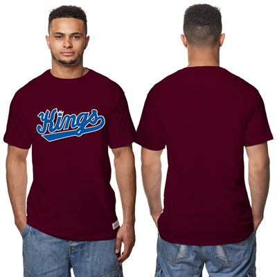 """Sacramento Kings Hardwood Classics – Fashion Wordmark T-Shirt – Claret"""