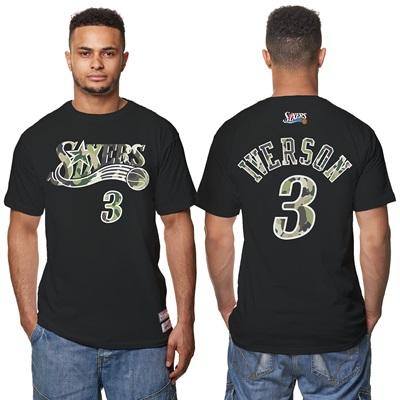"""Philadelphia 76ers Allen Iverson Hardwood Classics Camo Name & Number """