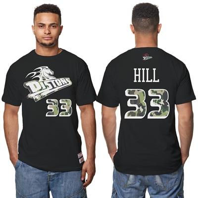 """Detroit Pistons Grant Hill Hardwood Classics Camo Name & Number T-Shir"""