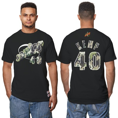 """Seattle Supersonics Shawn Kemp Hardwood Classics Camo Name & Number T-"""