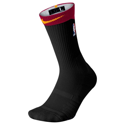 """NBA Nike Elite Alternate On-Court Crew Sock – Black/Team Red – Mens"""