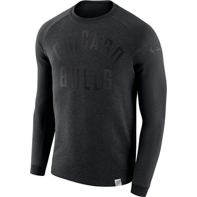 """Chicago Bulls Nike Modern Crew Sweatshirt – Black Heather – Mens"""