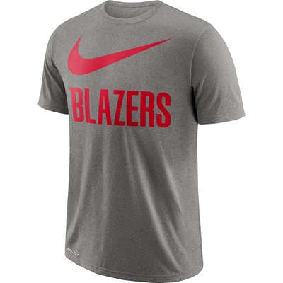 """Portland Trail Blazers Nike Swoosh T-Shirt – Dark Grey Heather – Mens"""
